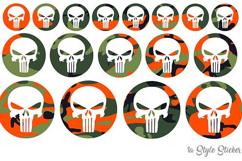 17 x Punisher Aufkleber Tarnoptik Camouflage Sticker Skull Skin Totenschädel
