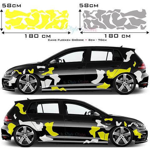 Camouflage Auto Tattoo Car Seiten Sticker Flecktarn Kuhfell Aufkleber