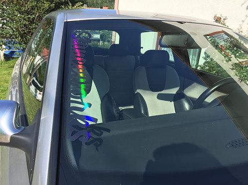 Stanceworks Schwarz Blau Silber Rot Tuningsticker Hologramm Frontscheibenaufkleber Holographic Effekt Farbwechsel