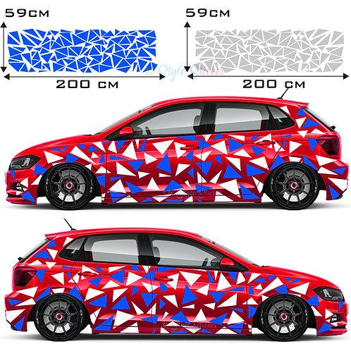 Auto Seitenaufkleber Dreiecke Set Gesamtansicht