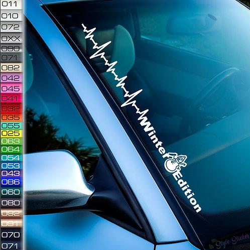 Pulsschlag Winter Edition Frontscheibenaufkleber Tuningsticker Autoaufkleber Uni Farben Sticker Tuningaufkleber Winterauto