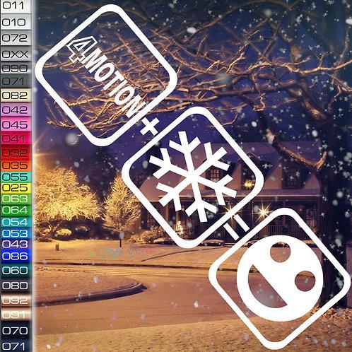 4Motion+Schnee=Fun Winterauto Aufkleber Motiv W28