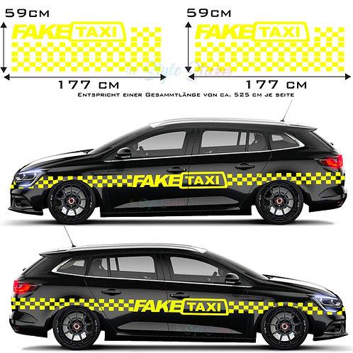 Auto Seitenaufkleber Fake Taxi Set Gesamtansicht
