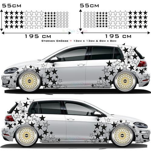 Auto Seitenaufkleber Sterne Set Gesamtansicht