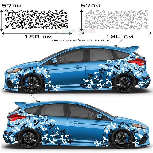 Auto Seitenaufkleber Camouflage Set Gesamtansicht