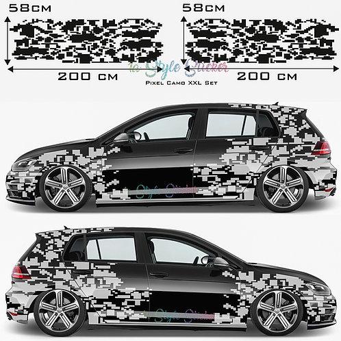 Auto Seitenaufkleber Pixel, Matrix, Cyber Set Gesamtansicht