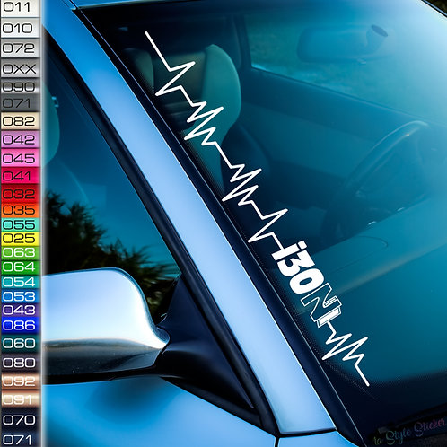 Pulsschlag i30N Frontscheibenaufkleber Tuningsticker Autoaufkleber Uni Farben Sticker Tuningaufkleber Tuningszene