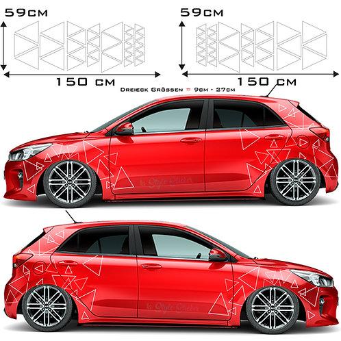 Auto Seitenaufkleber Dreicke-Frei Set Gesamtansicht