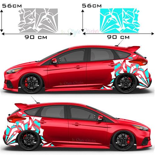 Auto Seitenaufkleber Mosaik Camo Set Gesamtansicht