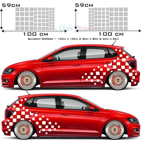 Auto Seitenaufkleber Rechteck Set Gesamtansicht