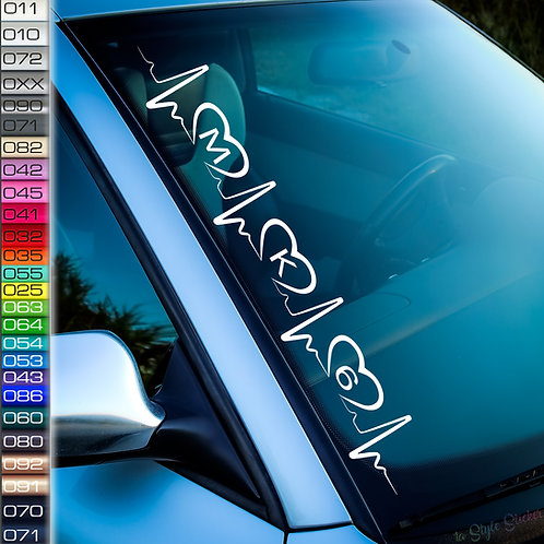 Pulsschlag Herzen MK8 Frontscheibenaufkleber Tuningsticker Autoaufkleber Uni Farben Sticker Tuningaufkleber Tuningszene