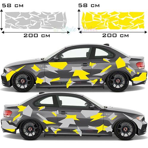 Autoseitenaufkleber XXL Camouflage  Set Gesamtansicht