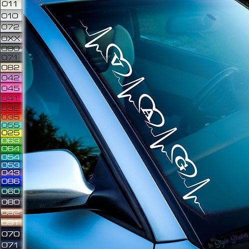 Pulsschlag Herzen VAG Frontscheibenaufkleber Tuningsticker Autoaufkleber Uni Farben Sticker Tuningaufkleber Tuningszene