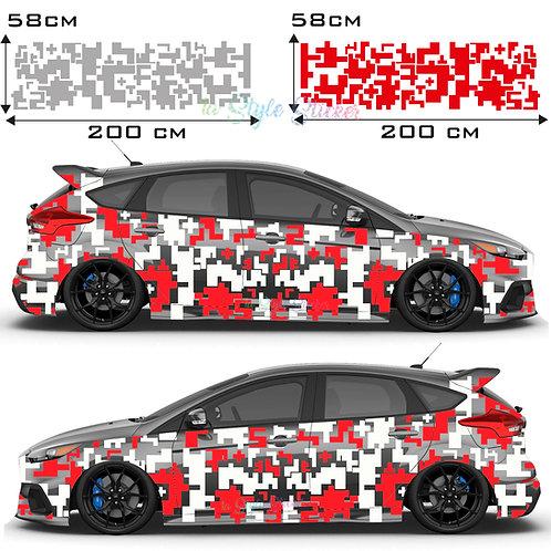 Auto Seitenaufkleber Pixel Set Gesamtansicht