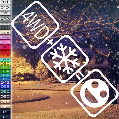 4WD+Schnee=Fun Winterauto Aufkleber Motiv W26