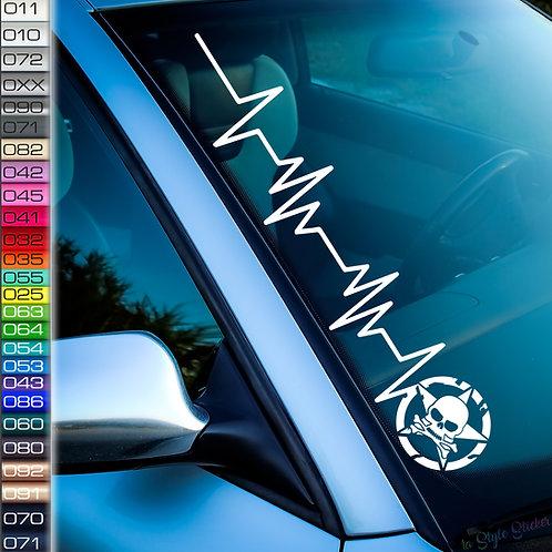 Pulsschlag Stern Totenkopf Frontscheibenaufkleber Tuningsticker Autoaufkleber Uni Farben Sticker Tuningaufkleber Tuningszene