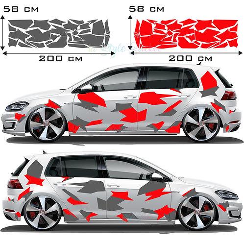 VW Golf Gti Auto Seitenaufkleber Camouflage Eckig Set Gesamtansicht