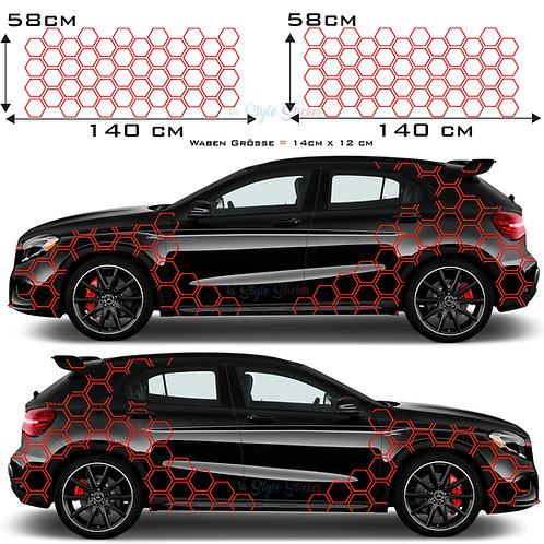 Auto Seitenaufkleber Waben, Hexagon Set Gesamtansicht