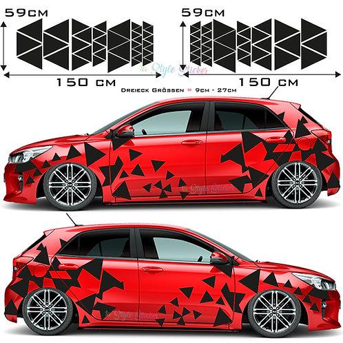 Auto Seitenaufkleber Dekor Dreiecke Set Gesamtansicht