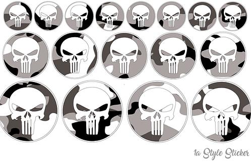 17 x Punisher Aufkleber Tarnoptik Camouflage Skull Totenschädel Motorcoss dekor