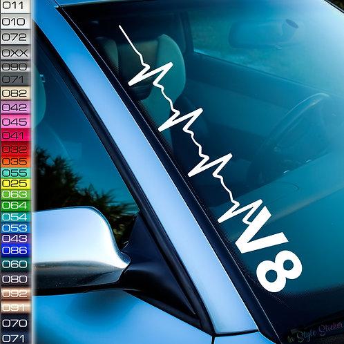 Pulsschlag V8 Frontscheibenaufkleber Tuningsticker Autoaufkleber Uni Farben Sticker Tuningaufkleber Tuningszene
