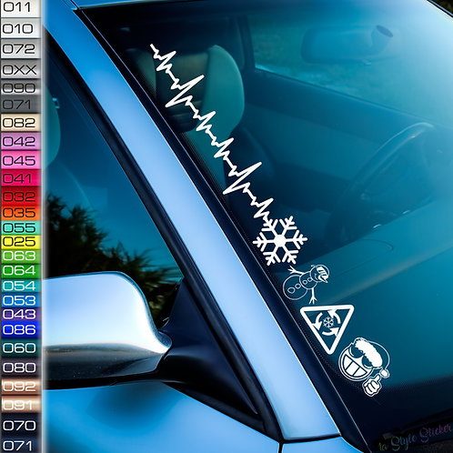 Pulsschlag Wintersymbole Frontscheibenaufkleber Tuningsticker Autoaufkleber Uni Farben Sticker Tuningaufkleber Winterauto