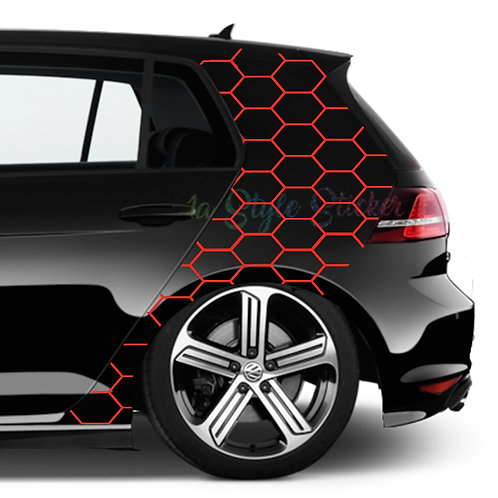 GTI C-Säulen Autoaufkleber Wabenmuster Großansicht