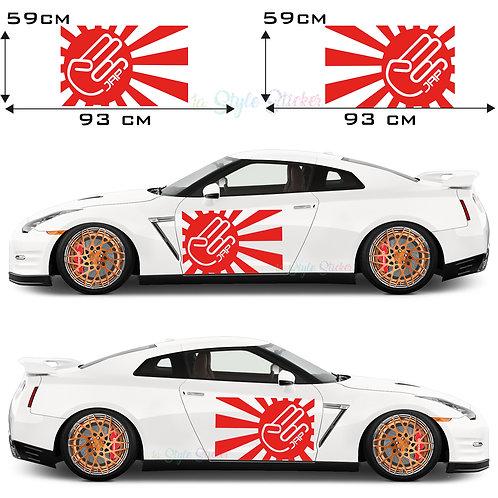 Auto Seitenaufkleber JDM Japan Fahne The Shocker Set Gesamtansicht