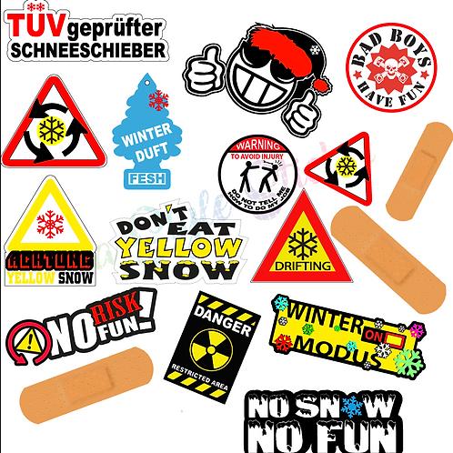 Winterauto Aufkleber 16 Wintersticker yellow Snow, No risk no fun, Schneeschiebe