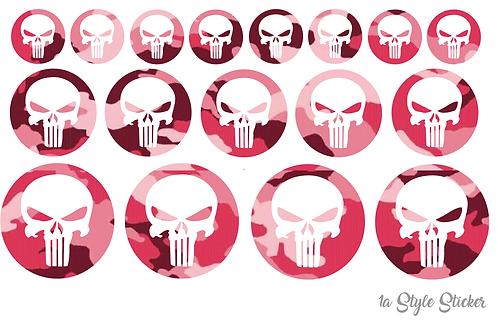 17 x Punisher Aufkleber Tarnoptik Camouflage Pink Ladystyle Sticker