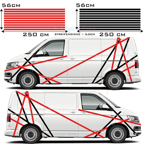Auto Seitenaufkleber Streifen Set Gesamtansicht