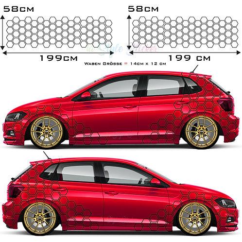 Auto Seitenaufkleber Waben-Muster Set Gesamtansicht