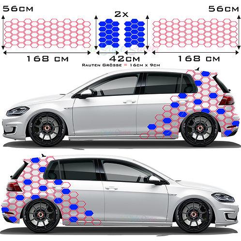 Auto Seitenaufkleber Sechseck Rauten Set Gesamtansicht