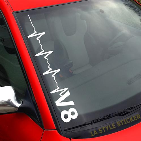 Pulsschlag V8 Frontscheibenaufkleber