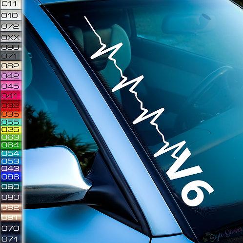 Pulschlag V6 Frontscheibenaufkleber Tuningsticker Autoaufkleber Uni Farben Sticker Tuningaufkleber Tuningszene