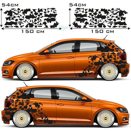 Auto Seitenaufkleber Pixel, Dekor, Matrix Set Gesamtansicht
