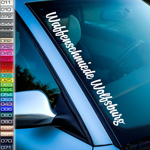 Waffenschmiede Wolfsburg Frontscheibenaufkleber Tuningsticker Autoaufkleber Uni Farben Sticker Tuningaufkleber Tuningszene