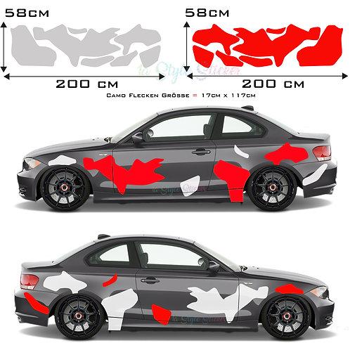 Auto Seitenaufkleber XXL Camouflage Set Gesamtansicht