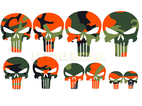 10 x The Punisher Sticker Tarnlook Decal skull Schädel Rock