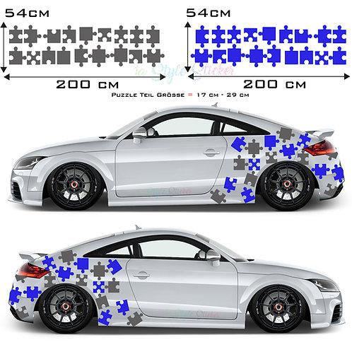 Auto Seitenaufkleber Puzzle Set Gesamtansicht