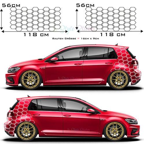Auto Seitenaufkleber Sechseck Rauten Waben GTI VW  Set Gesamtansicht