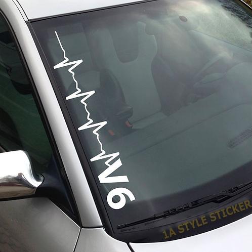 Pulsschlag V6 Frontscheibenaufkleber