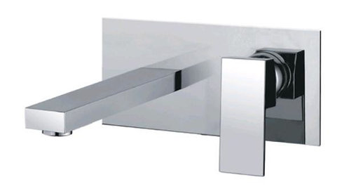Block Chrome Square Wall Basin Mixer