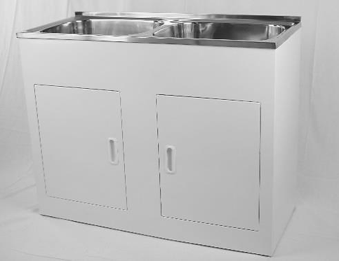 45ltr Stainless Steel Double Laundry Tub & Cabinet