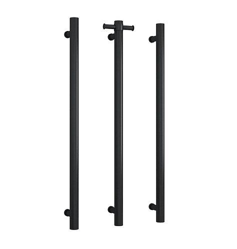 Thermorail Straight Round Vertical Single Bar Heated Towel Rail Black
