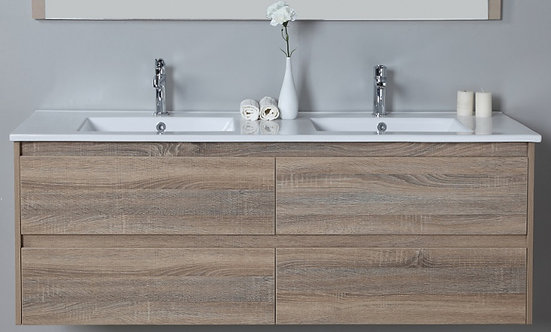Leo 1500mm Double Bowl Timber Grain Wall Hung Vanity