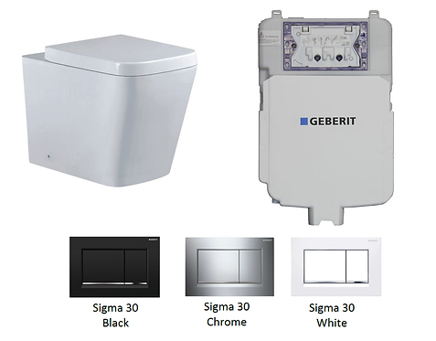 Blok Wall Faced Toilet Pan with Geberit Sigma 8 Concealed Cistern