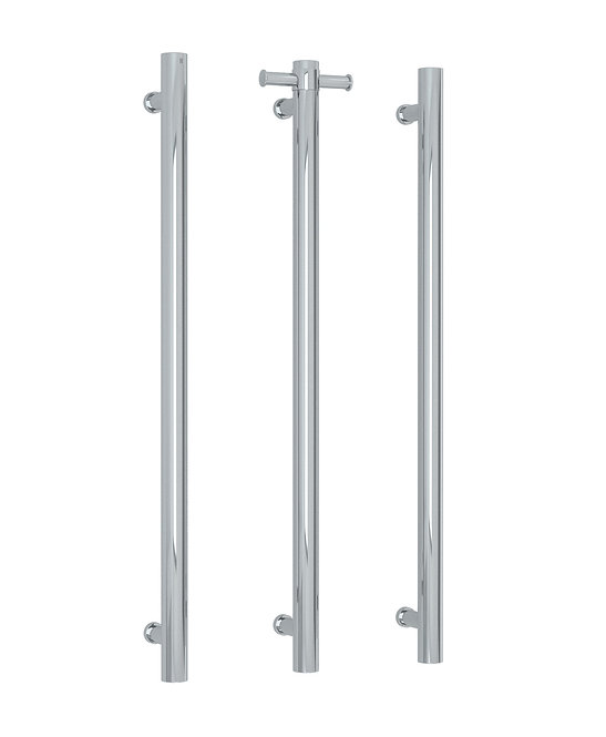 Thermorail Straight Round Vertical Single Bar Heated Towel Rail - Polished