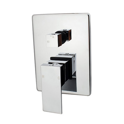 Block Chrome Square Shower Mixer with Divertor