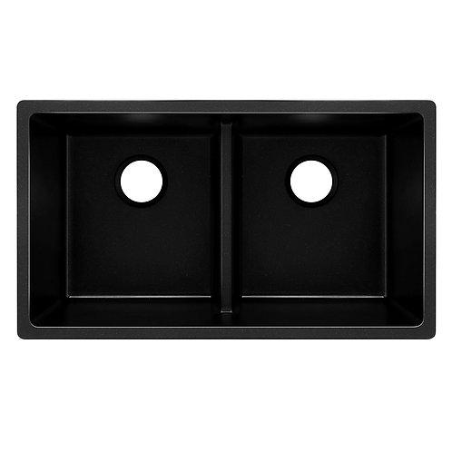 Black Granite Quartz Double Bowl Sink